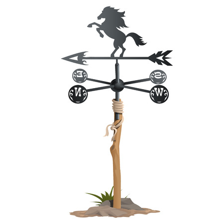Wrought iron weathervane in form of horse. Vector isolated