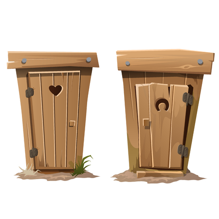 Two rural toilets on white background. Vector illustration