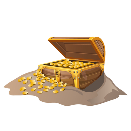hoard: Open wooden pirate chest in the sand with Golden coins. Vector isolated illustration