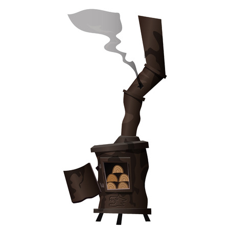firewood: Ancient rusty stove, which is heated with firewood. Image in cartoon style