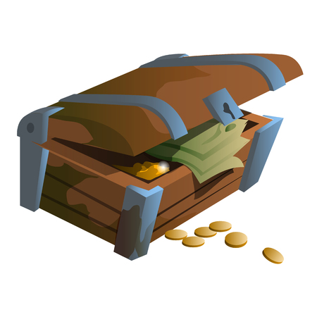 monies: Old wooden treasure chest with coins and money banknotes