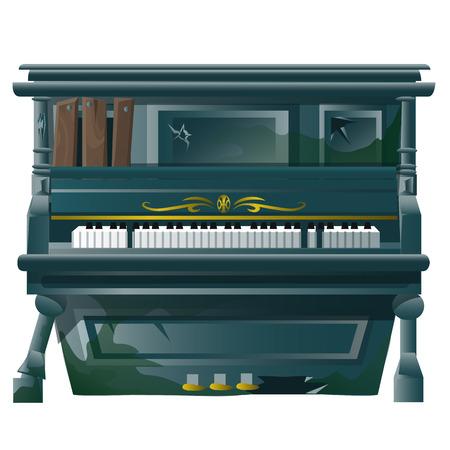 Ancien grand piano, rompu avec des trous de balles. Vector stylisé l'image