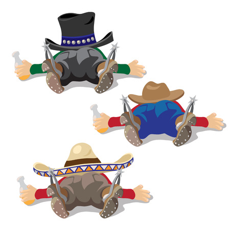 drunken: Three drunken men in hats lie with bottle of alcohol in hand