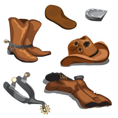 Ripped worn cowboy boots, hat and spurs, six vector items isolated Ilustração