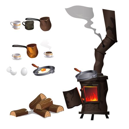 dilapidated: Cooking eggs and coffee on ancient rusty stove, big vector set items isolated