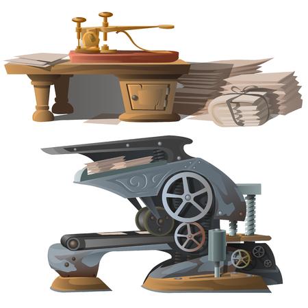 Oude apparatuur om kranten te drukken en druk op. vector illustratie Vector Illustratie