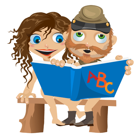 naked woman sitting: Naked man and woman reading book. Funny vector card