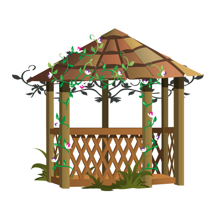 bower: Cozy wooden gazebo with flowers, decor for landscape