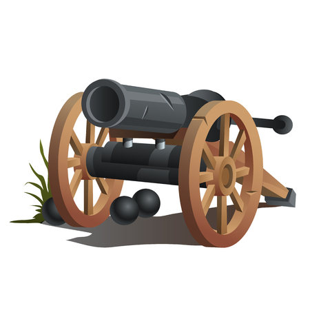 gunfire: Cannon on wooden wheels and black cannonballs, antique weapons