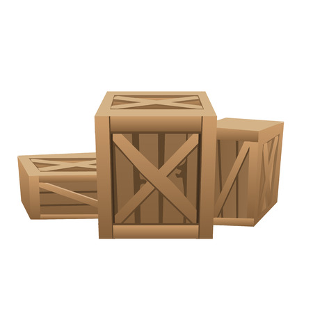 lading: Three large wooden boxes for transportation cargo