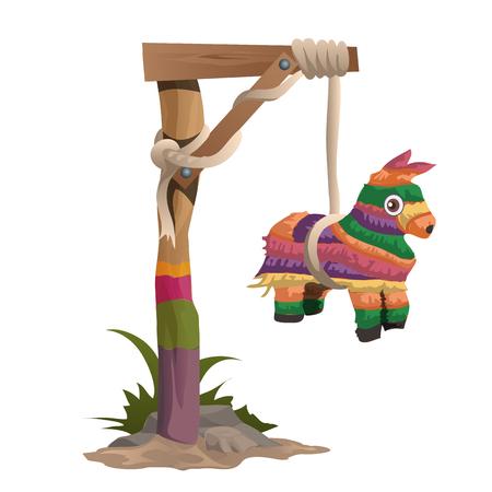 ahorcado: Ahorcado en una viga de madera con el juguete colorido del caballo