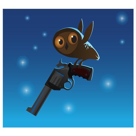 exterminate: Little cute owl stole the big gun, Illustration on blue background