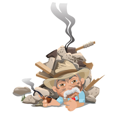 contingency: Old smoking man in hat under rubble of house. creator scene Illustration