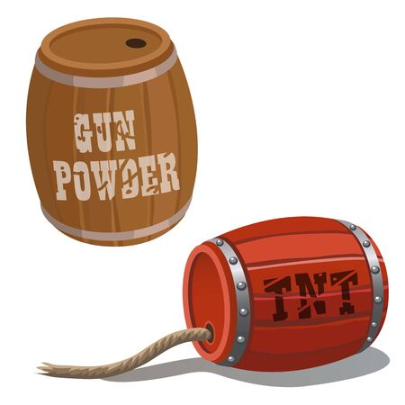 barrel bomb: Wooden barrel and red barrel with dynamite and wick, cartoon vector illustration Illustration