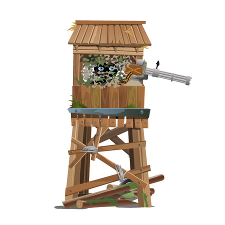 Observation tower with the machine gunner. Vector illustration Illustration