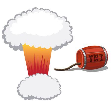 barrel bomb: Red barrel of dynamite and a bomb blast, cartoon illustration Illustration
