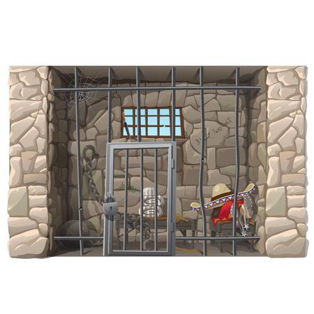 creador: prisionero de vaquero duerme en una celda de prisión, escena creador Vectores