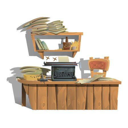 writer: Workplace of writer with typewriter and pile of books in vintage style Illustration