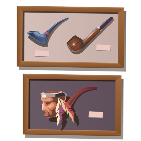 exhibit: Museum exhibit of Smoking pipes in native American style Illustration