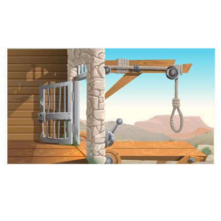 scaffold: Location of the prison and scaffold in wild West background, Creator scene