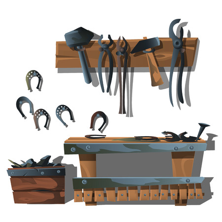 forge: Workstation forge, horseshoes and tools. Vector composition Illustration