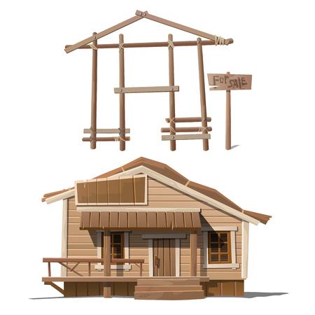 Proces van het bouwen van het huis, afgewerkt gebouw en teken verkoop