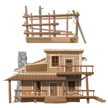 balk: Two-storey wooden cottage with chimney, series of vector house