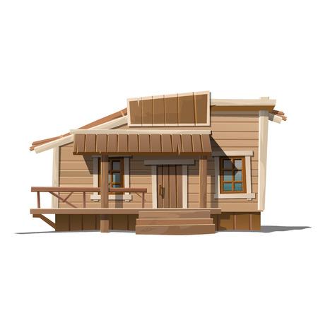 Houten huis met teken en portiek in landelijke stijl, serie vector huis