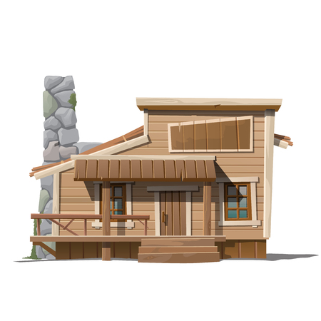 country house: Wooden house with stone chimney in country style, series of vector house Illustration