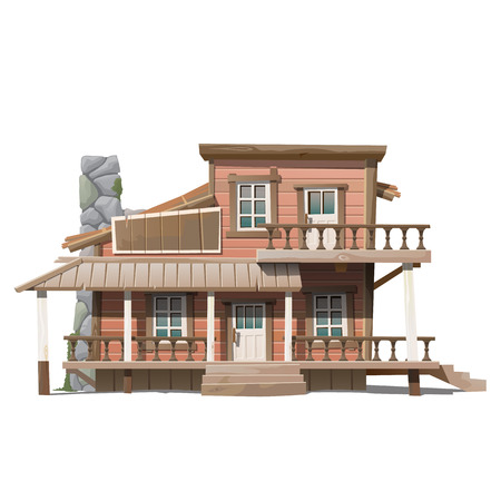 house series: Two-storey beautiful wooden cottage with stone chimney, series of vector house