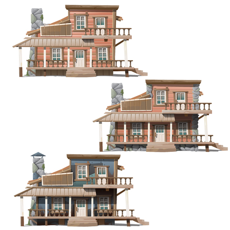 wooden houses: Three wooden houses in Wild West style, series of vector house Stock Photo