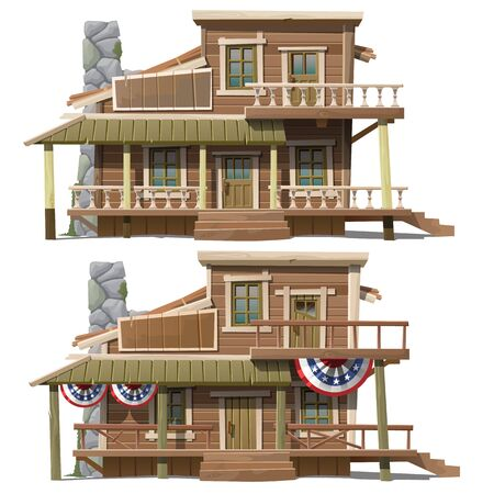 two storey: Two storey house in the American country style, series of vector house