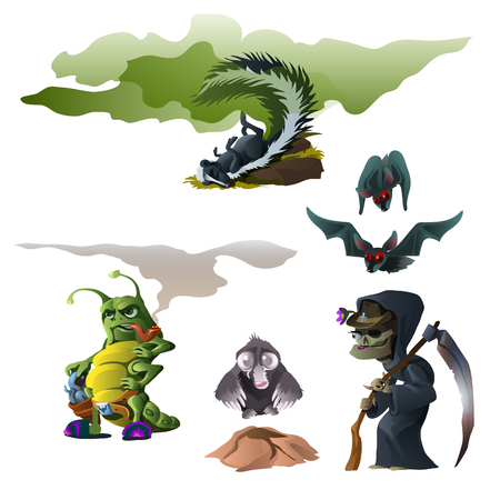Skunk, bat, witch, insect and mole is great company for Halloween