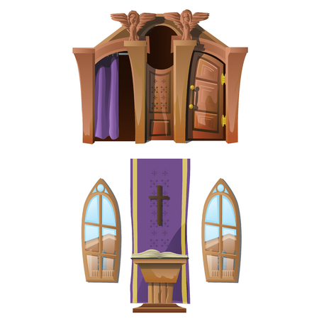 antique booth: Catholic altar and windows, interior of Church. Vector illustration Illustration