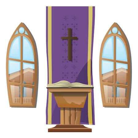 Autel catholique et fenêtres, entre l'église. Vector illustration Banque d'images - 59309257