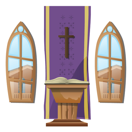 the altar: Catholic altar and windows, interior of Church. Vector illustration Illustration