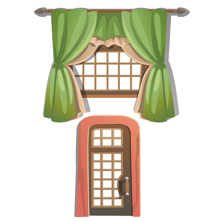 portiere: Window with green curtains and wooden door. Vector illustration