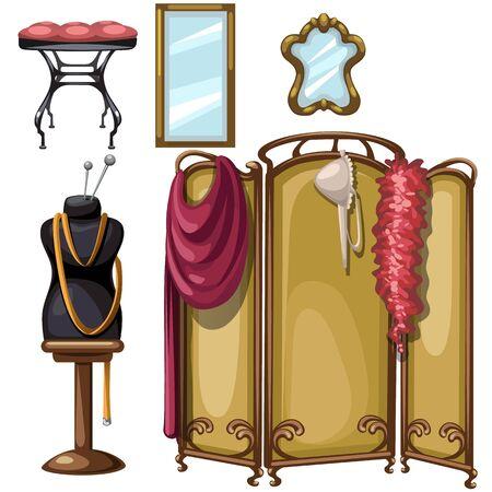 Interior de la vendimia del taller de costura, muebles conjunto de vectores Ilustración de vector