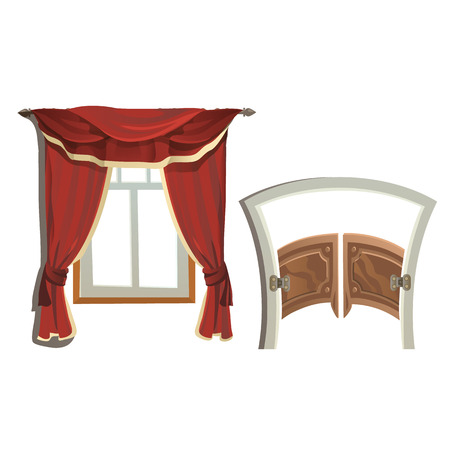 portiere: Window with red curtains and doors to saloon. Vector furniture set Illustration