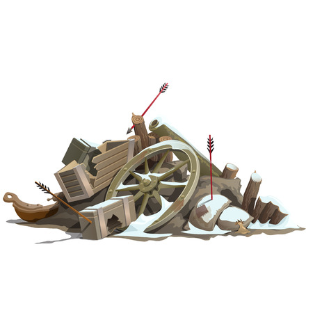 brigand: Broken to pieces wooden truck, attack of Indians. Vector illustration Illustration