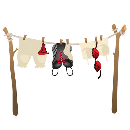 underclothing: Womens underwear drying on rope outdoors. Vector illustration