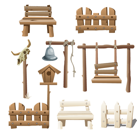 ranch: Big vector set of wooden objects, design ranch, village