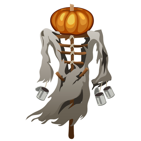 tatter: Scarecrow with pumpkin head, symbol of Halloween, vector isolated