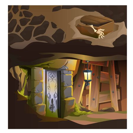 under ground: Game concept, zombie hand rising out from coffin and his house under ground