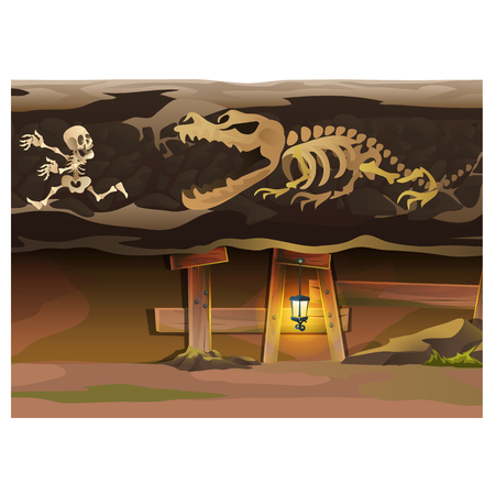buried: Game concept, underground with human and animal skeleton Illustration