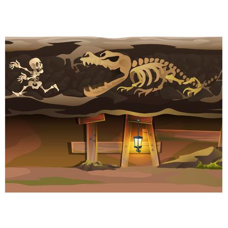 underground: Game concept, underground with human and animal skeleton Illustration