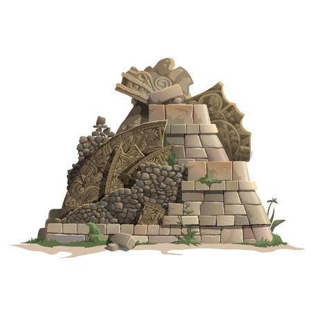 past civilizations: Ruins of antique Mayan pyramid, cartoon style. Vector illustration