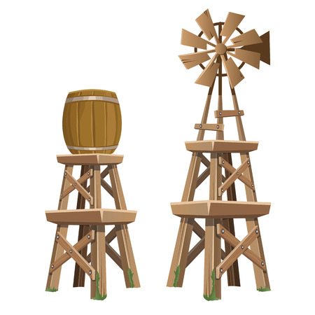 Wooden water tower and wind power plant. Two vector items