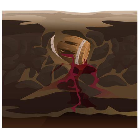 under ground: Old barrel of wine under ground, vector illustration Illustration