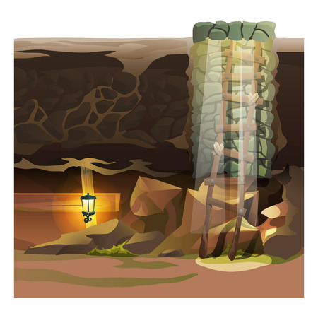dungeon: Game concept, descent into the dungeon. Cartoon vector location
